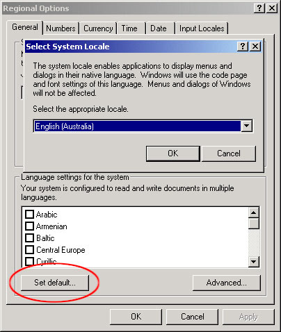 Setting the Default Locale under Windows2000