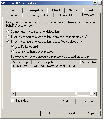 Configuring Delegation - Windows Server 2003 functional level domain