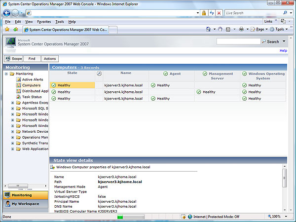 The published Operations Manager 2007 Web Console